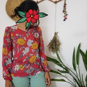 Pink and yellow chic floral blouse